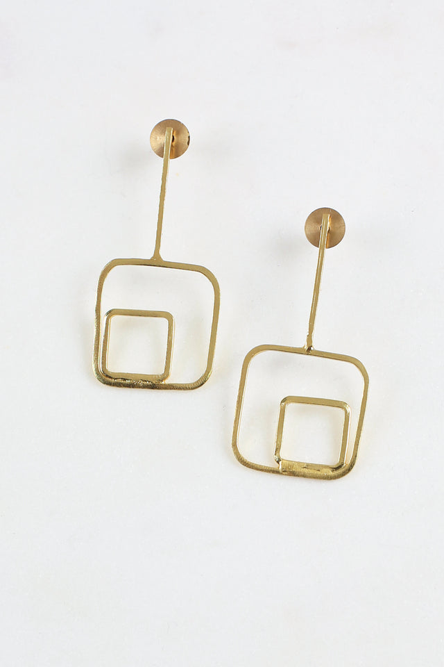 Square Post Earrings in Gold