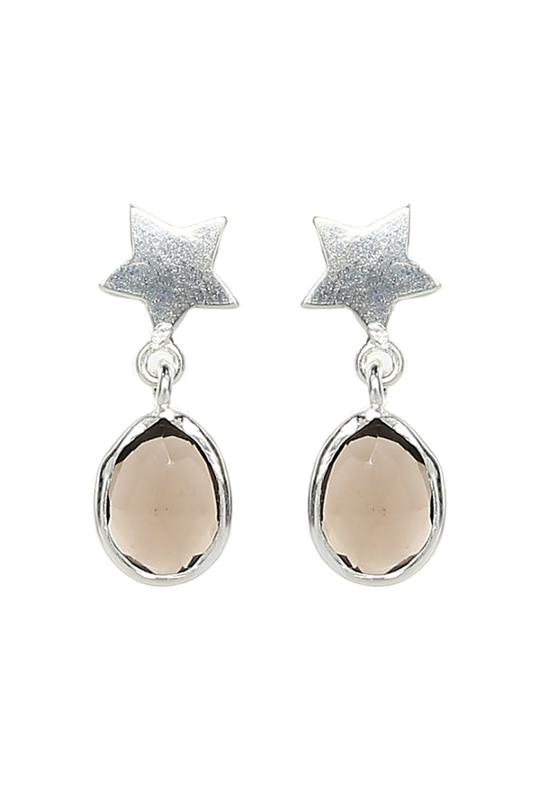Smokey Quartz Star Teardrop Earrings in Silver