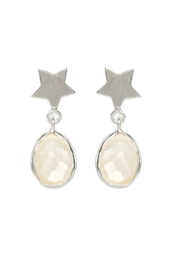 Pearl Star Teardrop Earrings in Silver