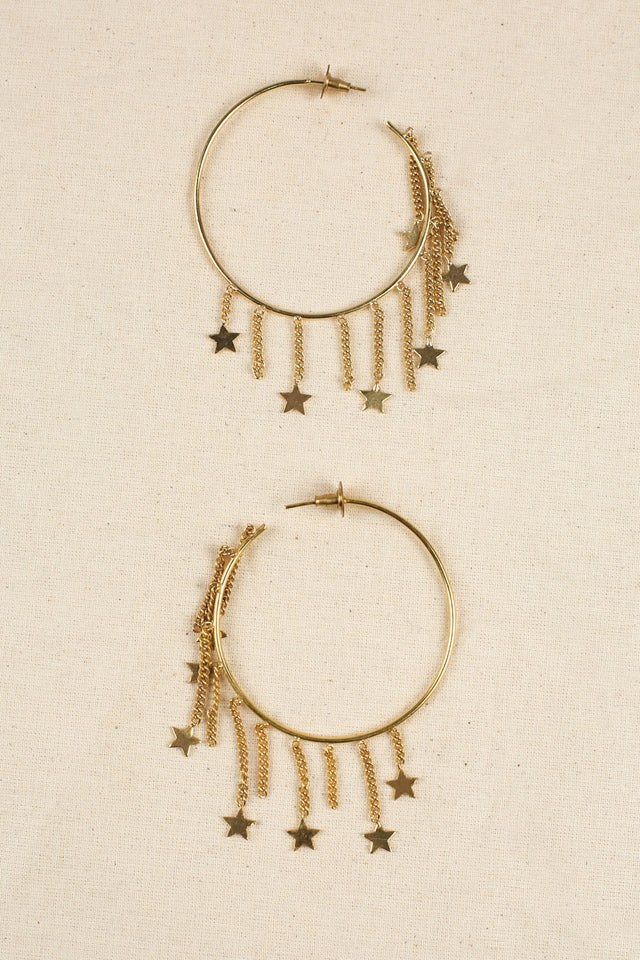 Starry Hoop Earrings in Gold