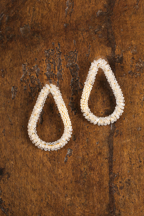 Statement Shape Earrings in White