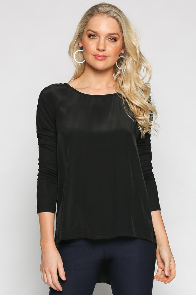 Stretch Sleeve Long Line Top in Black