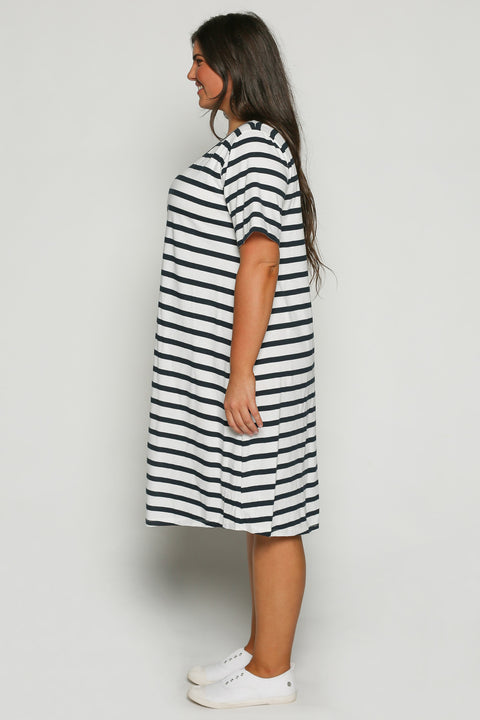Swing White Dress in Navy Stripe