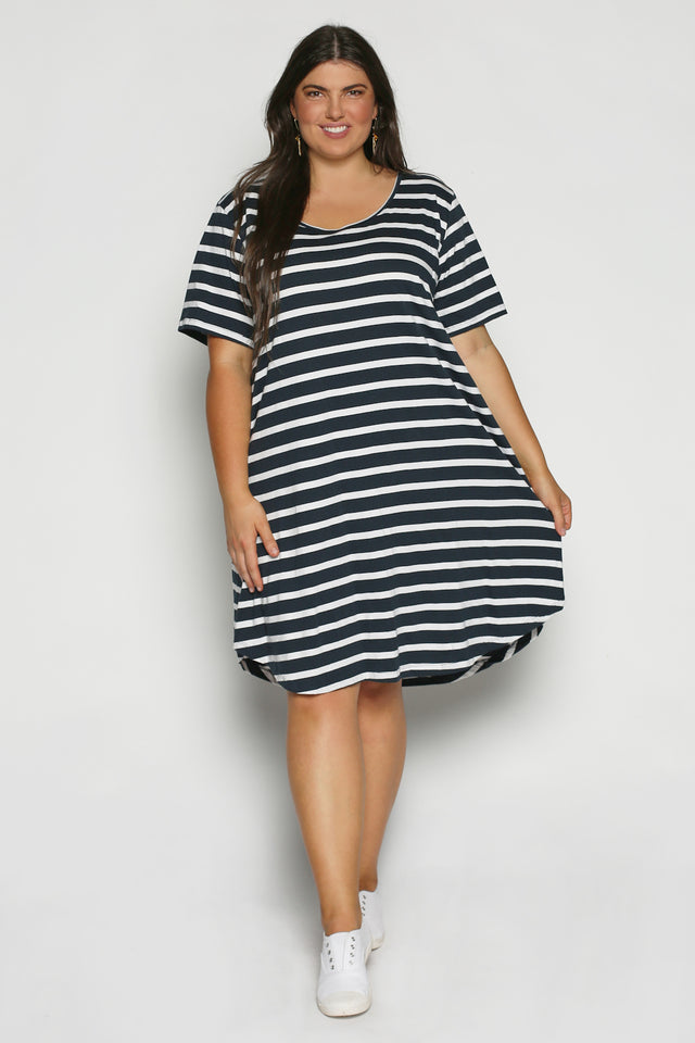 Swing Dress in Nautical Stripe (Plus Size)