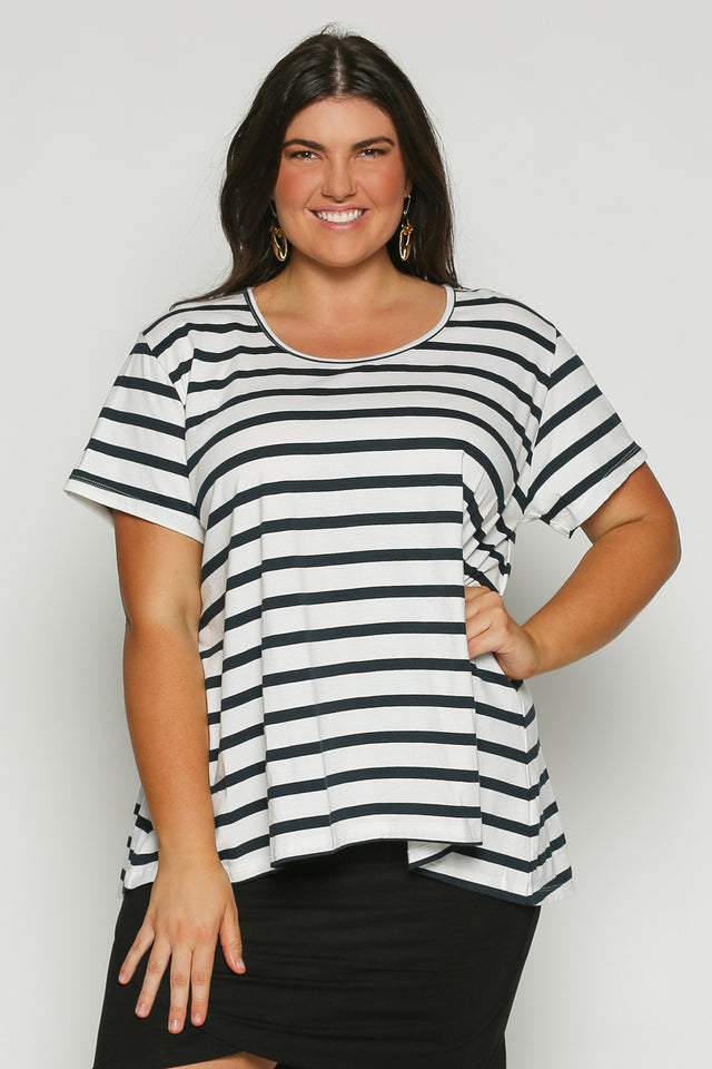 Swing White Tee in Navy Stripe