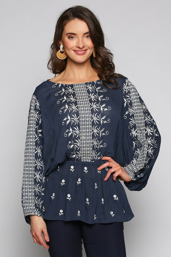 Theoni Embroidered Top in Navy
