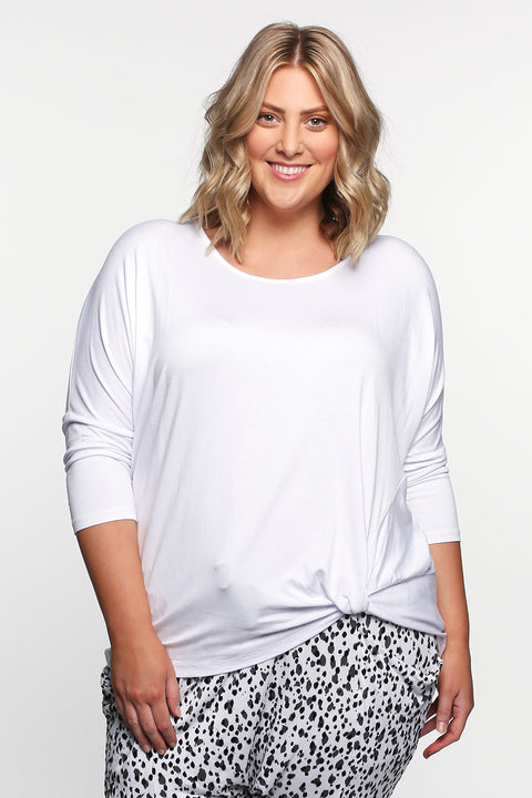 Betty Basics Atlanta 3/4 Sleeve Top in White