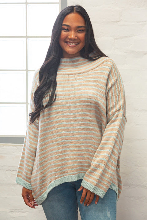 Maya Turtleneck Knit in Mint Stripe