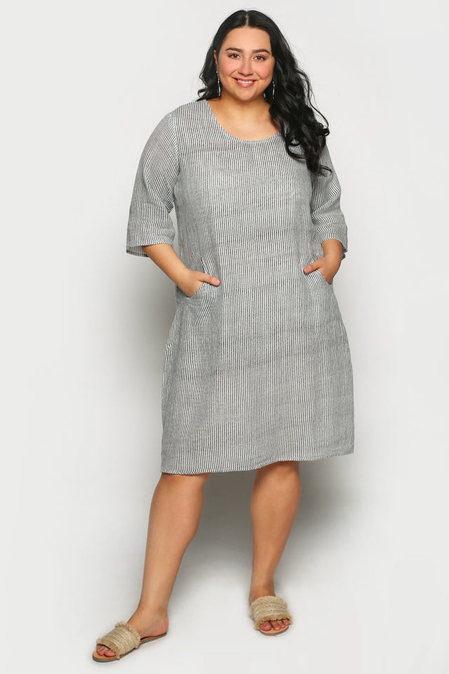 Westley Dress in Charcoal Stripe (Plus Size)
