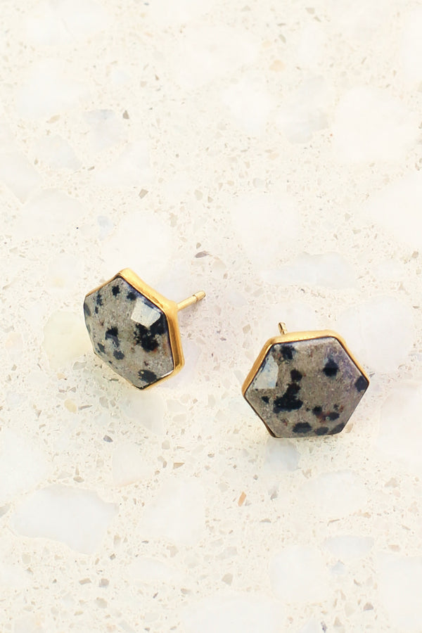 Hexagon Studs in Dalmation