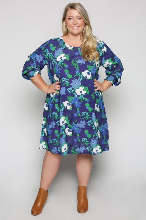 Zoe Dress in Posy Blue (Plus Size)