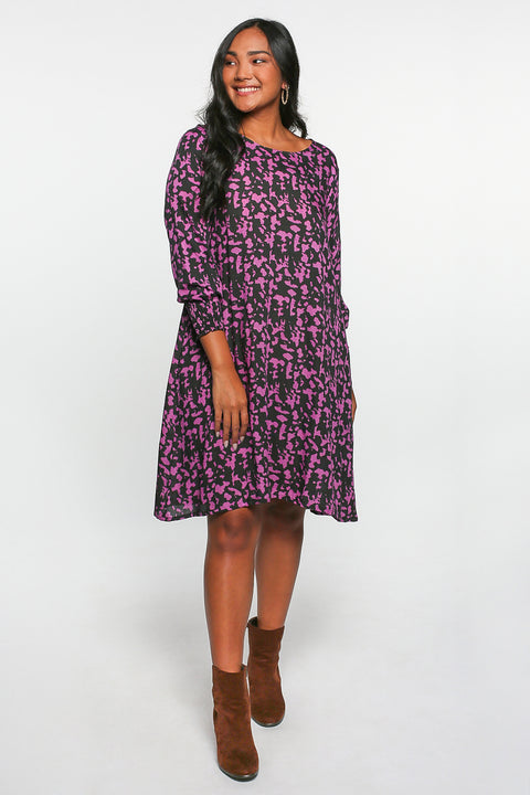 Zoe Shift Dress in Zambia Fuchsia