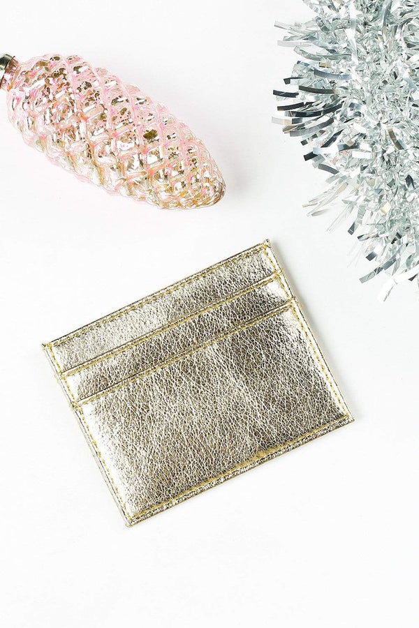 Adorne Clutch Gold / O/S Metallic Card Holder in Gold