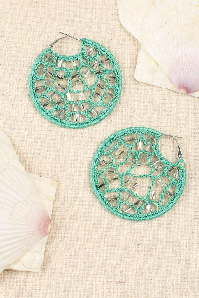 Adrift Clothing Earrings Aqua / O/S Crochet Hoop Earrings in Aqua