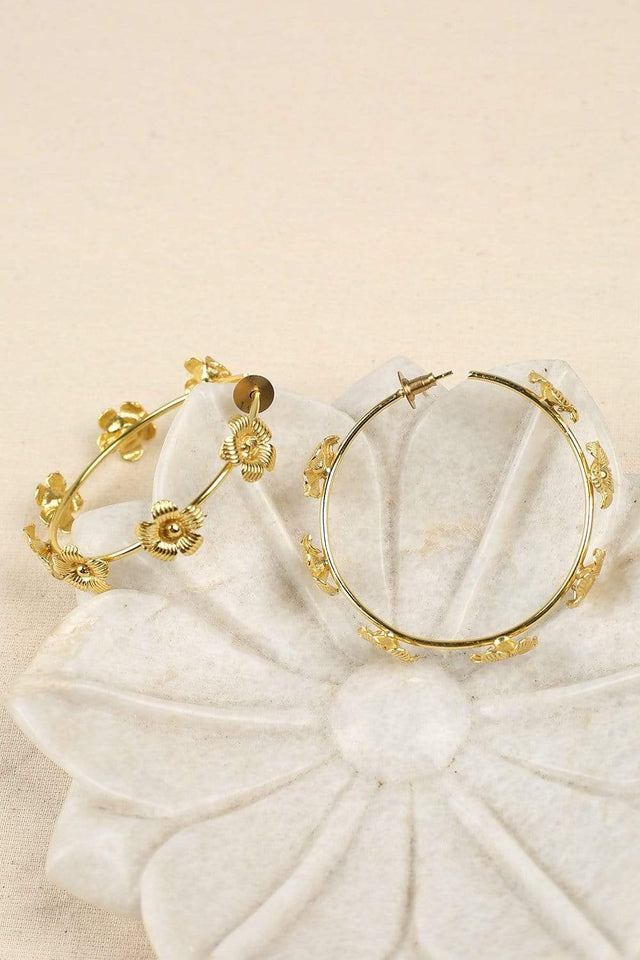 Adrift Clothing Earrings Gold / O/S Flower Hoop Earrings in Gold