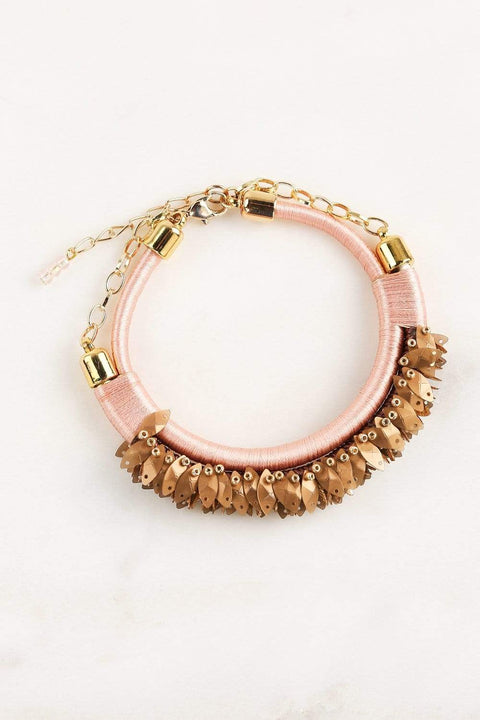 Adrift Clothing Earrings Pink / O/S Fringed Bracelet in Pink
