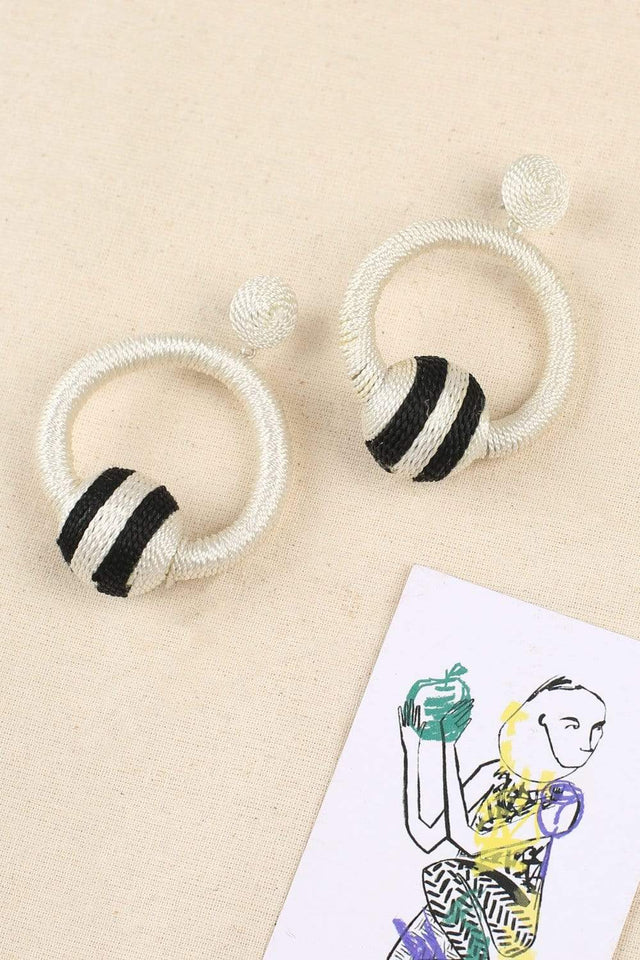Textured Drop Earrings in Cream