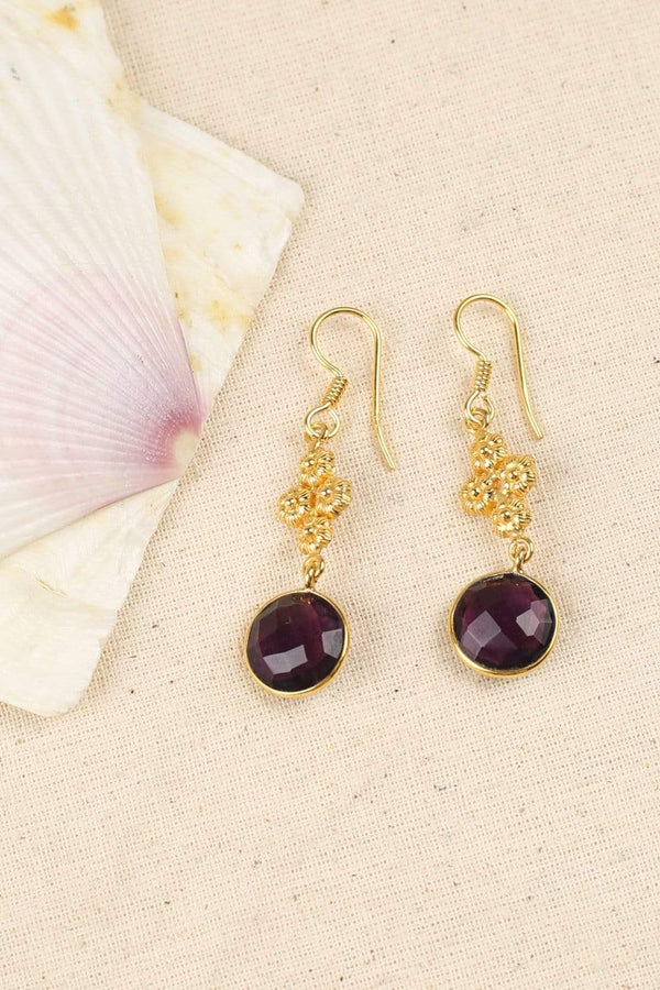 Adrift Earrings Default Amethyst Boho Drop Earrings in Gold