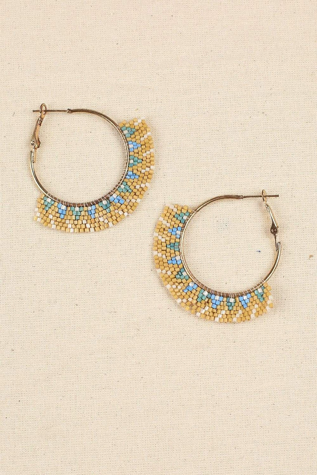 Adrift Manufactured - Rashimi Earrings Cream / O/S Hand Crafted Hoops in Cream