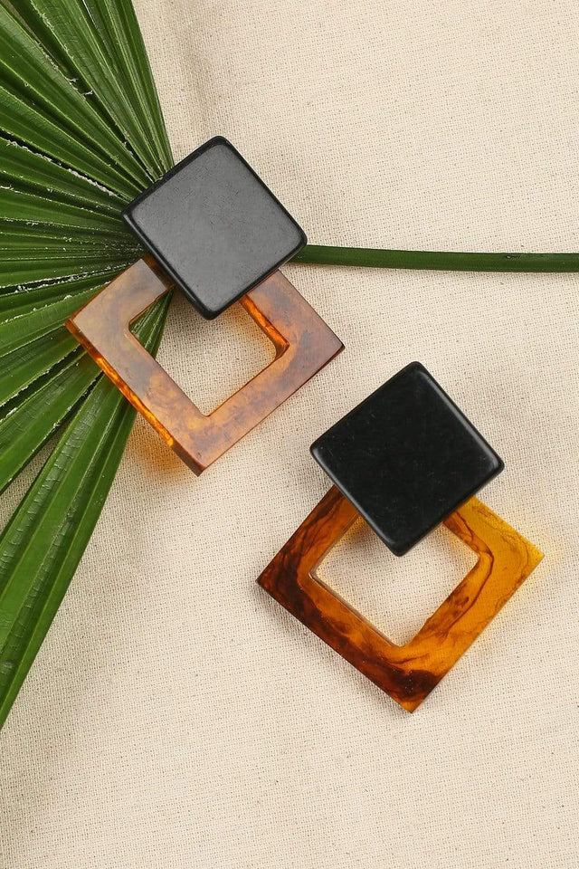Adrift Manufactured - Rashimi Earrings Brown / O/S Square Resin Drop Earrings in Brown