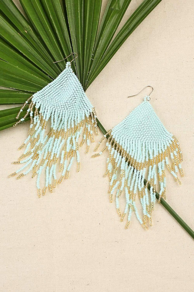 Adrift Manufactured - Rashimi Earrings Mint / O/S Triangle Beaded Earrings in Mint