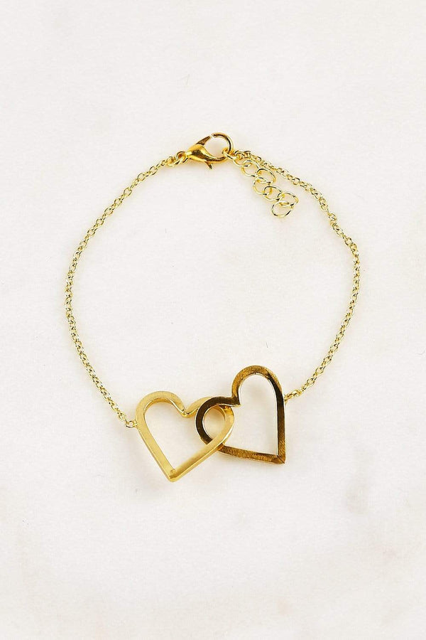 Adrift Manufactured - Rashimi Necklace Gold / O/S Double Heart Bracelet in Gold