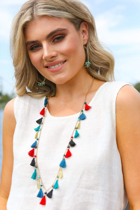 Adrift Manufactured - Rashimi Necklace Multi / O/S Handmade Tassel Necklace in Multi