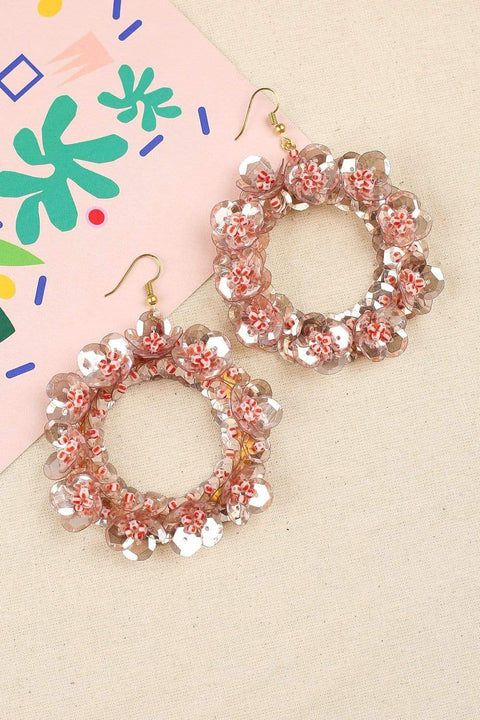 Statement Flower Earrings in Red