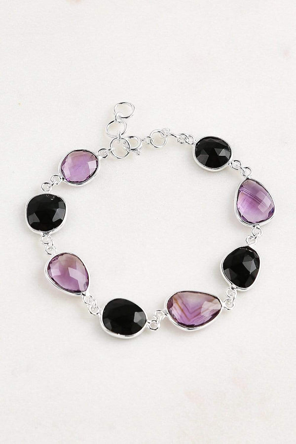 Adrift Manufactured - Shyam Craft Bracelet Silver / O/S Onyx & Pink Amethyst Bracelet in Silver