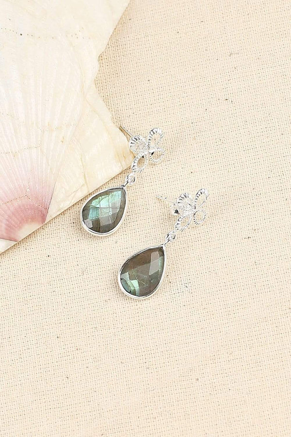 Adrift Manufactured - Shyam Craft Earrings Silver / O/S Labradorite Flower Teardrop Earrings in Silver
