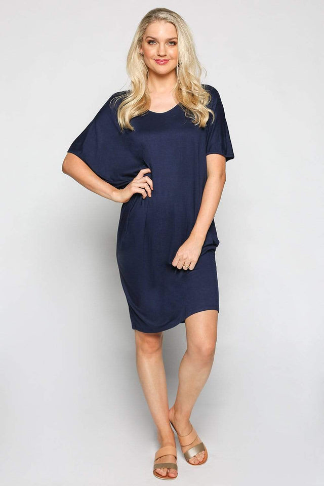 Basics By Adrift Dress Batwing Sleeve Dress in Navy