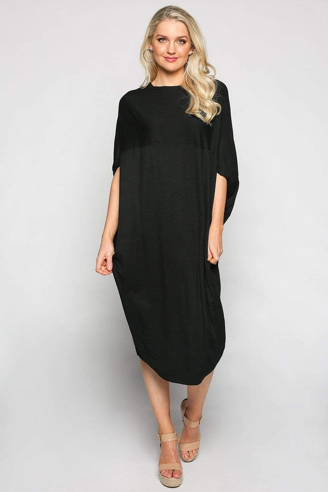 Basics By Adrift Dress O/S Cocoon Dress in Black