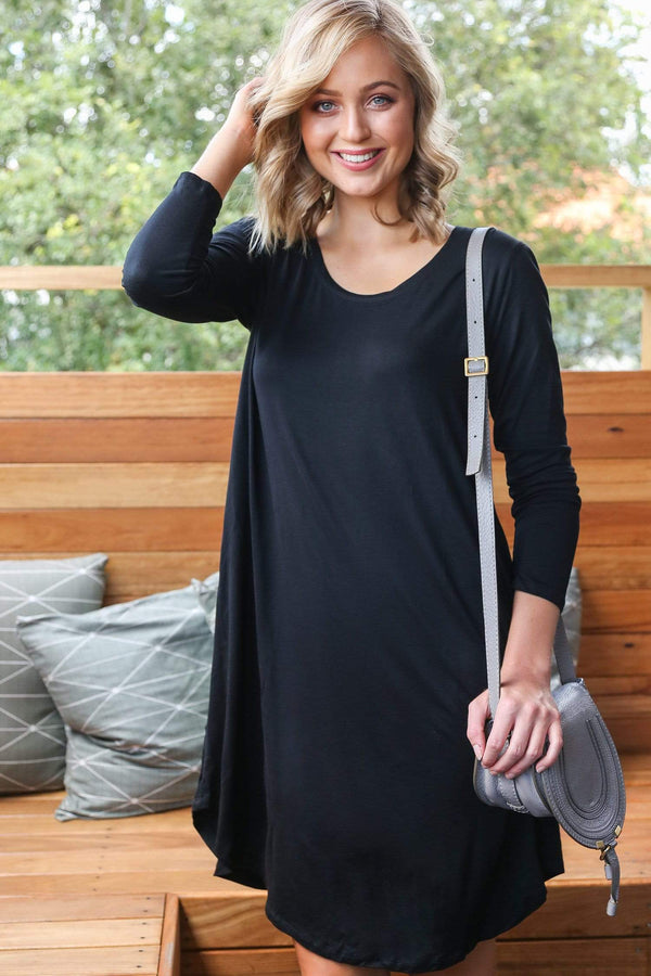 Basics By Adrift Dress Long Sleeve Swing Dress in Black