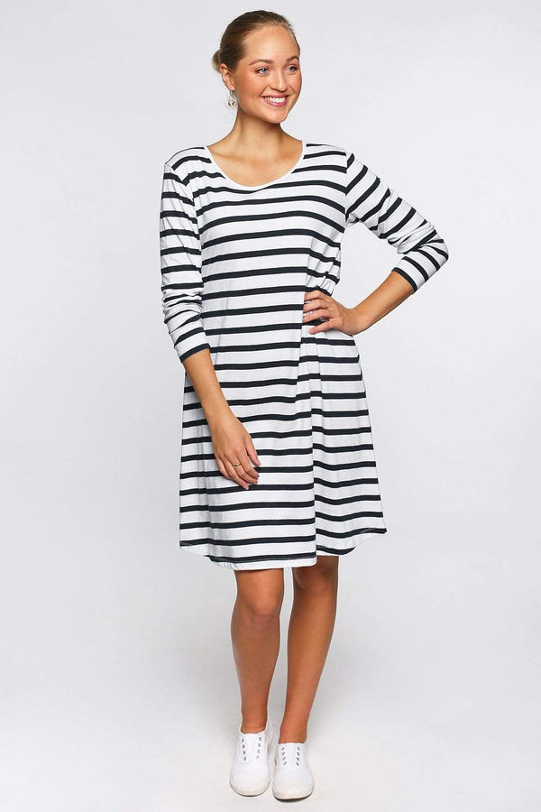 Basics By Adrift Dress Long Sleeve Swing Dress in French Stripe