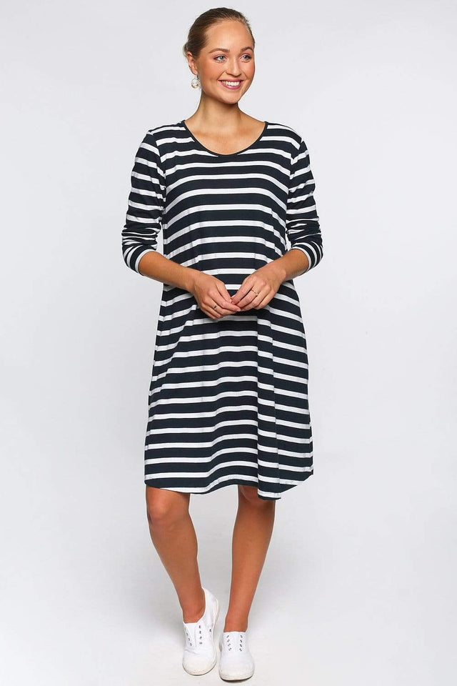 Basics By Adrift Dress Long Sleeve Swing Dress in Nautical Stripe