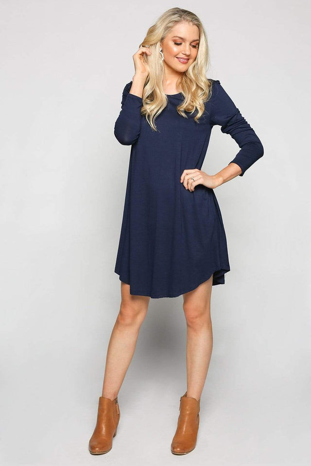 Basics By Adrift Dress Long Sleeve Swing Dress in Navy