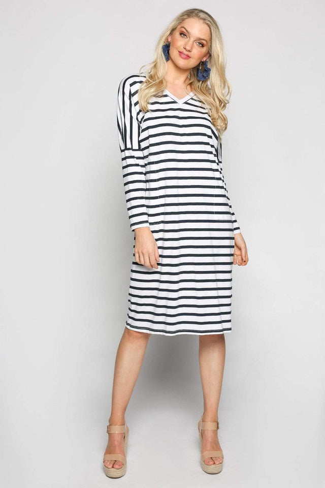 Basics By Adrift Dress Relaxed Tee Dress in French Stripe