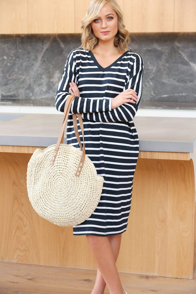 Basics By Adrift Dress Relaxed Tee Dress in Nautical Stripe