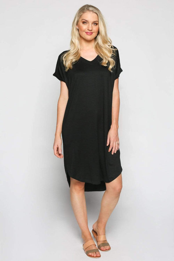 Basics By Adrift Dress Rolled Sleeve Dress in Black
