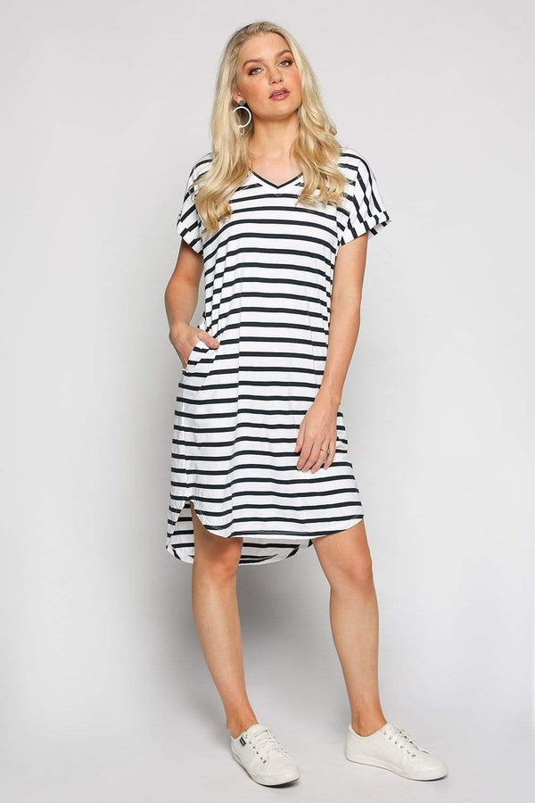 Basics By Adrift Dress Rolled Sleeve Dress in French Stripe