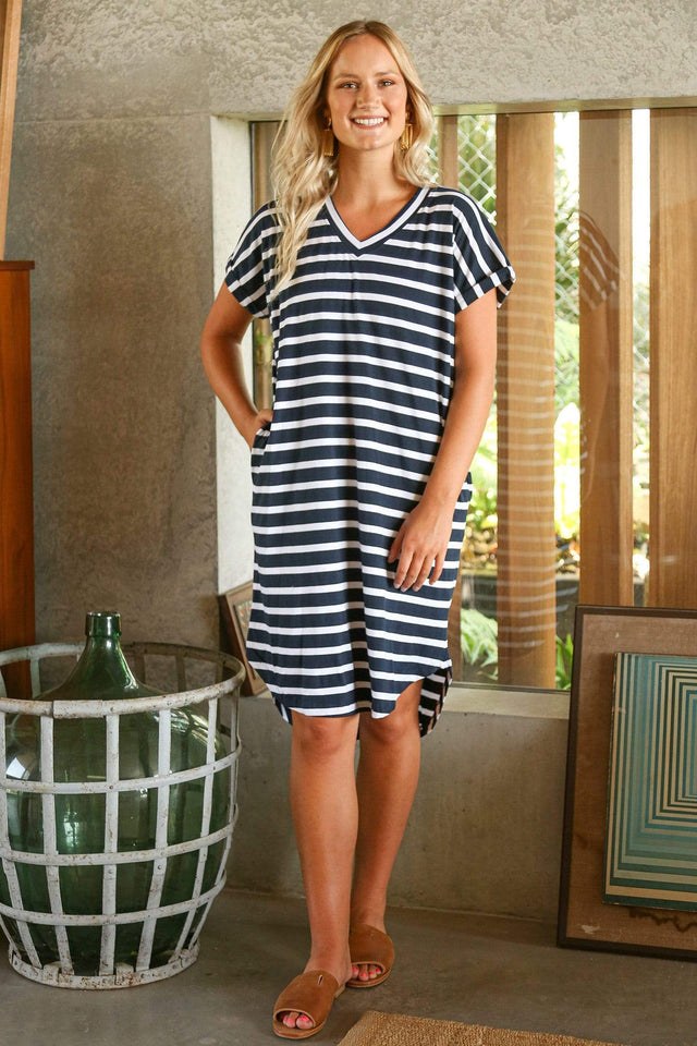 Basics By Adrift Dress Rolled Sleeve Dress in Nautical Stripe
