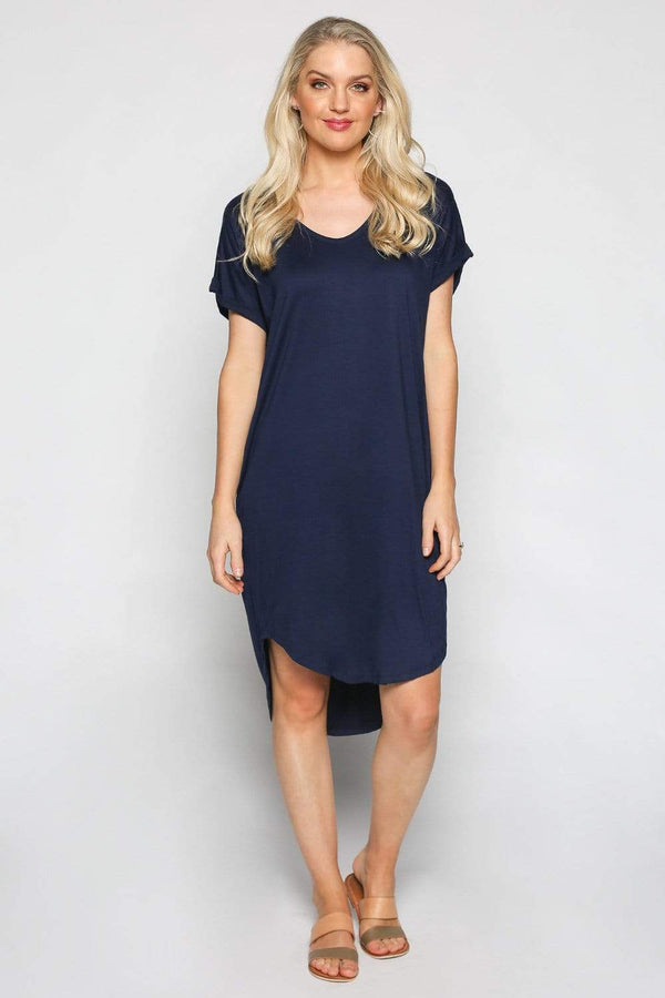 Basics By Adrift Dress Rolled Sleeve Dress in Navy