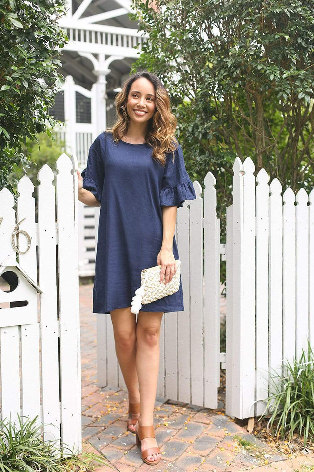 Basics By Adrift Dress Ruffle Sleeve Shift Dress in Navy