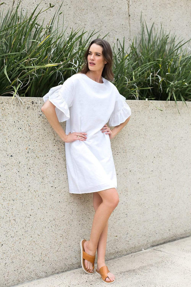 Basics By Adrift Dress Ruffle Sleeve Shift Dress in White