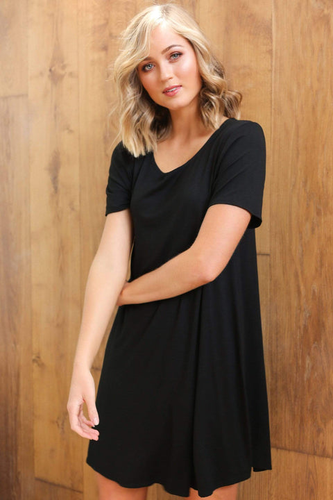 Basics By Adrift Dress Swing Dress in Black