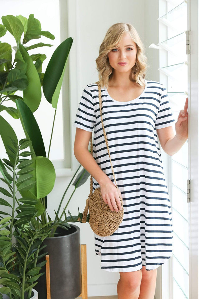 Basics By Adrift Dress Swing Dress in French Stripe