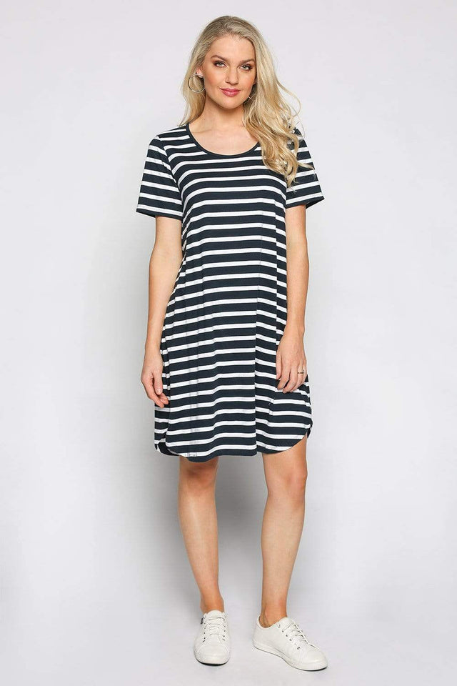 Basics By Adrift Dress Swing Dress in Nautical Stripe