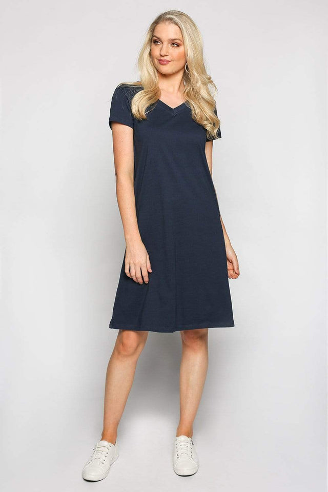 Basics By Adrift Dress V-Neck Dress in Navy