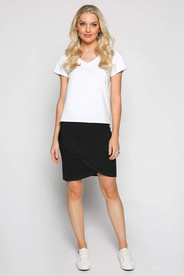 Basics By Adrift Skirt Wrap Stretch Skirt in Black
