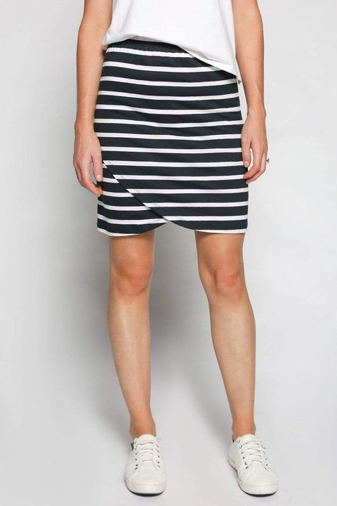 Basics By Adrift Skirt Wrap Stretch Skirt in Nautical Stripe